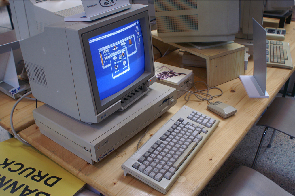 Old Amiga 1000 with 1084 color screen.. I just threw one of those out last year.
