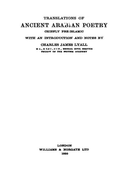 Download Traslations Of Ancient Arabian Poetry In Pdf